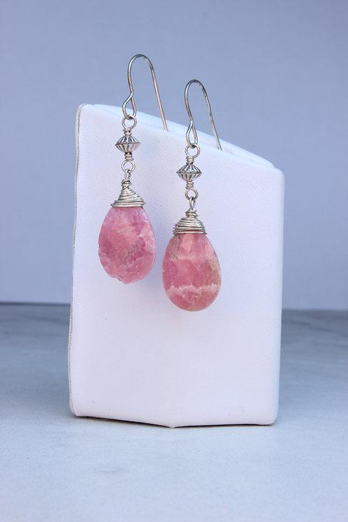 Rhodochrosite & Sterling Silver Earrings