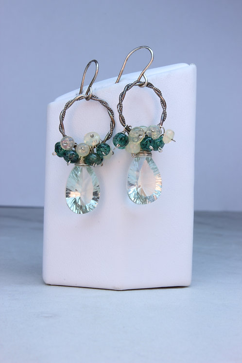 Prasiolite, Emerald, Opal & Sterling Silver Earrings