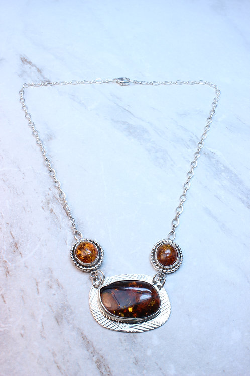 Amber & Sterling Silver Necklace