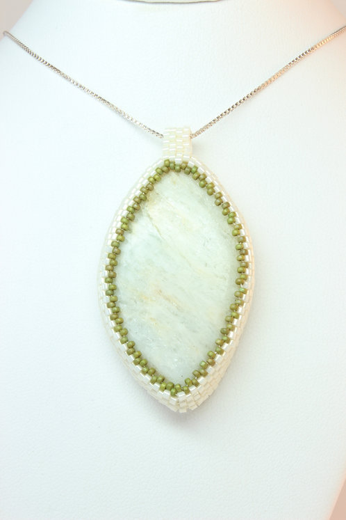 White Amazonite With Green and Blue Tones Pendant
