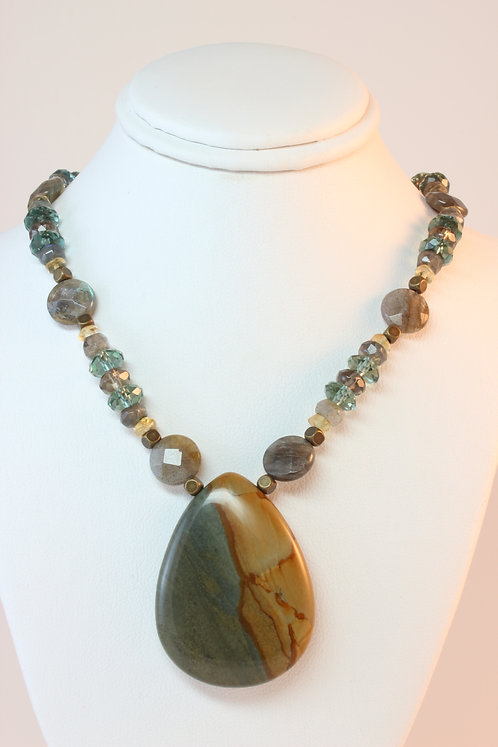 Picture Jasper & Mixed Gemstone Necklace