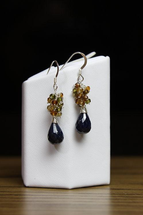 Blue Sapphire & Hessonite Garnet Sterling Silver Earrings