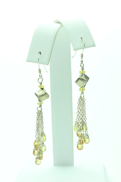 Yellow Sapphire and Sterling Silver Earrings