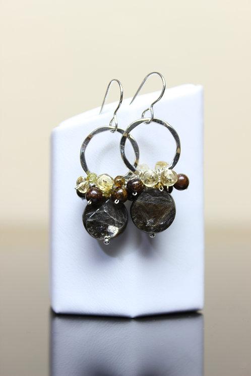 Golden Obsidian, Citrine, Hessonite & Bronzite Sterling Silver Earrings