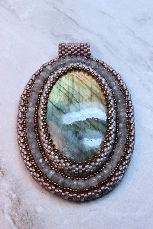 Labradorite Bead Embroidery Pendant