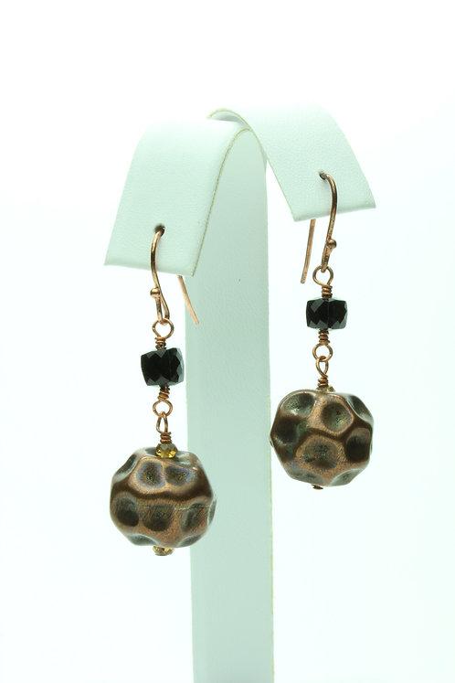 Black Spinel & Copper Earrings