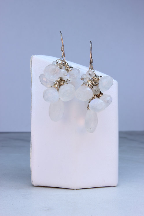 Moonstone & Sterling Silver Cluster Earrings