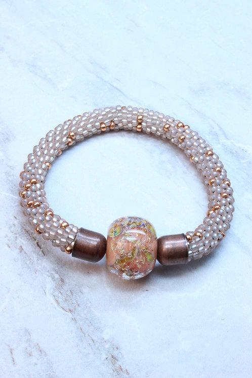 Blown Glass Bead on Champaign Bead Crochet Bracelet