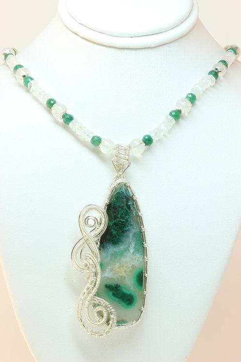 Gem Silica Chrysocolla & Malachite Silver Necklace