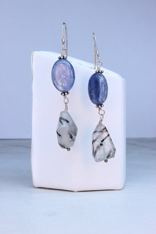 Kyanite & Tourmalated Quartz Silver Earrings