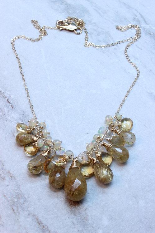 Rutilated Quartz, Opal, Citrine & Gold Fill Necklace