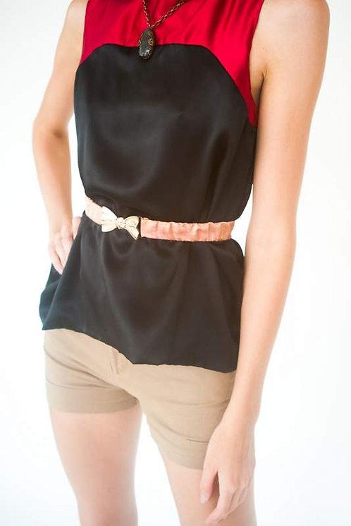 Raspberry & Black Silk Charmuse Bouse   Size 0