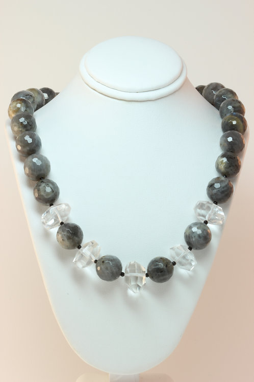 Labradorite Quartz Onyx & Sterling Silver Necklace