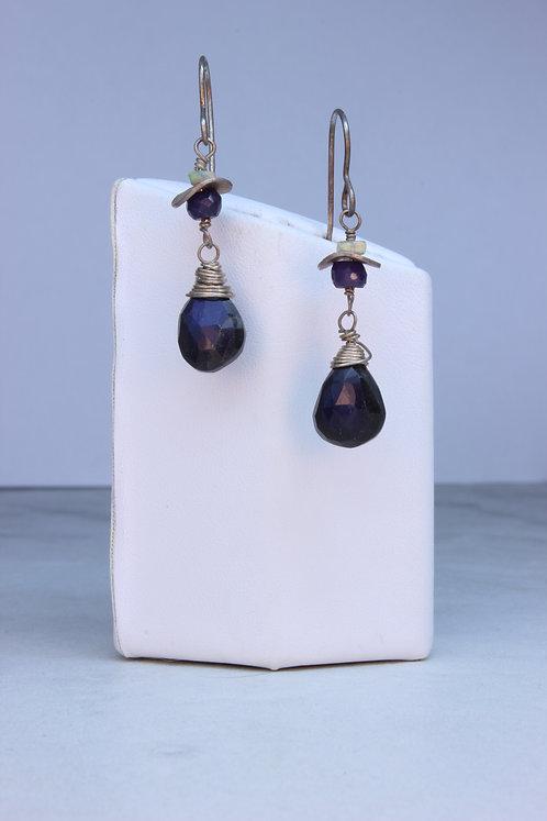 Dark Blue Labradorite, Opal & Sapphire Earrings