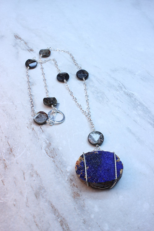 Azurite Druzy, Obsidian & Sterling Silver Necklace