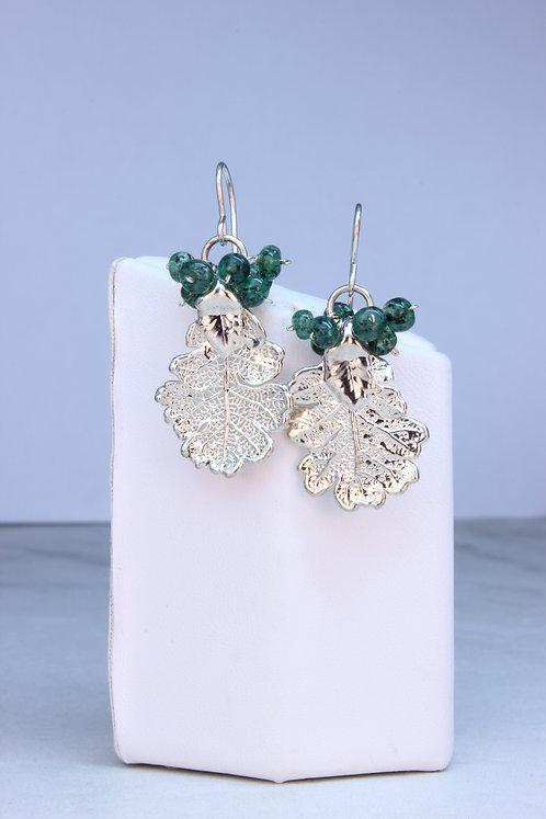 Emerald & Sterling Silver Earrings