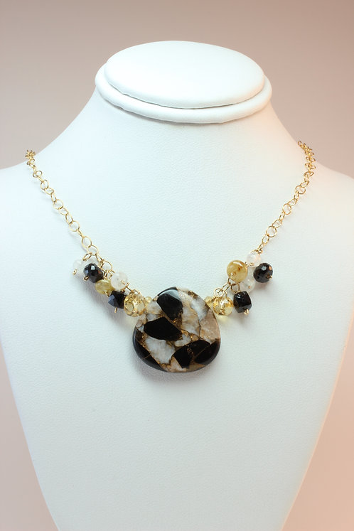 Bronze/Quartz/Obsidian & Gemstone Cluster Necklace