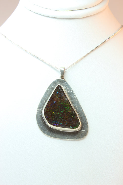 Ammolite Fossil Bezel Set in Sterling Silver