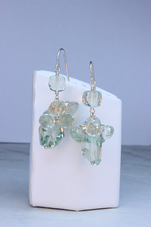 Prasiolite & Sterling Silver Cluster Earrings