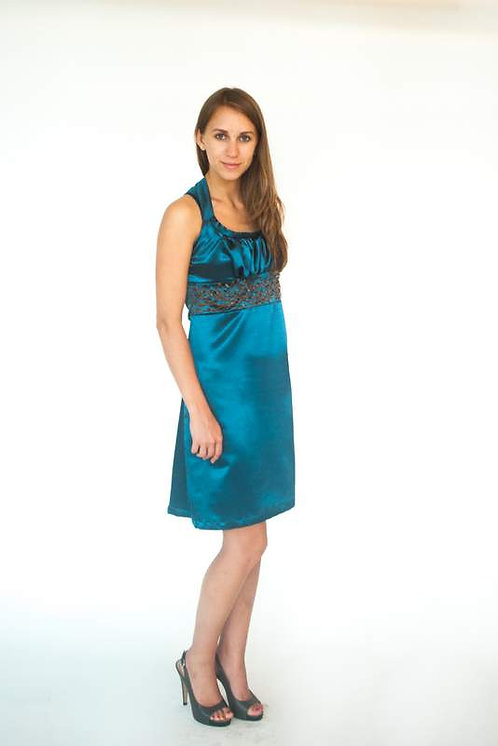 Teal Beaded Strappy Date Night Dress  Size 0