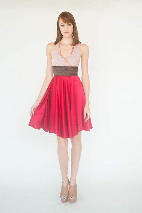 Red Raspberry Silk Charmuse Halter Dress