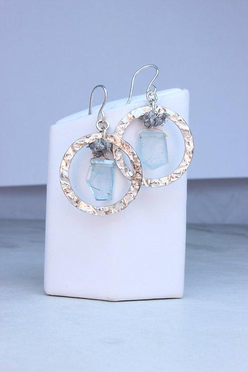 Aquamarine & Rough Diamond Sterling Silver Hoop Earrings