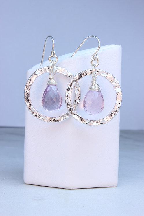 Pink Amethyst Sterling Silver Hoop Earrings