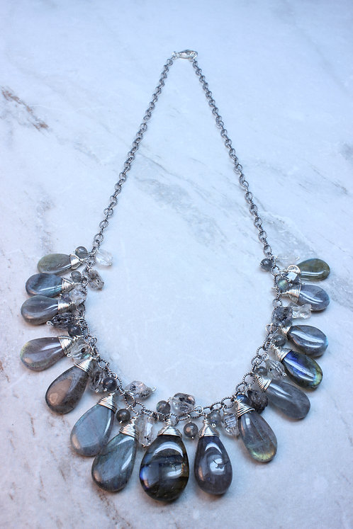 Labradorite & Herkimer Diamond Sterling Silver beaded Necklace