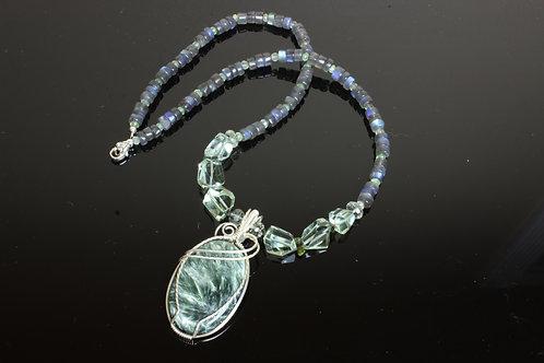 Saraphinite, Prasiolite, Tourmaline & Labradorite Silver Necklace