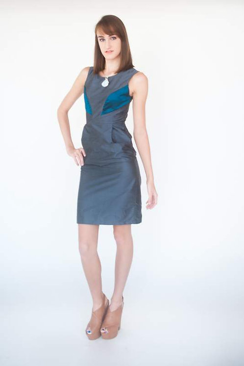 Gray and Teal Silk Duping Fitted Office Dress