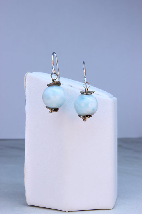Larimar & Sterling Silver Dangle Earrings