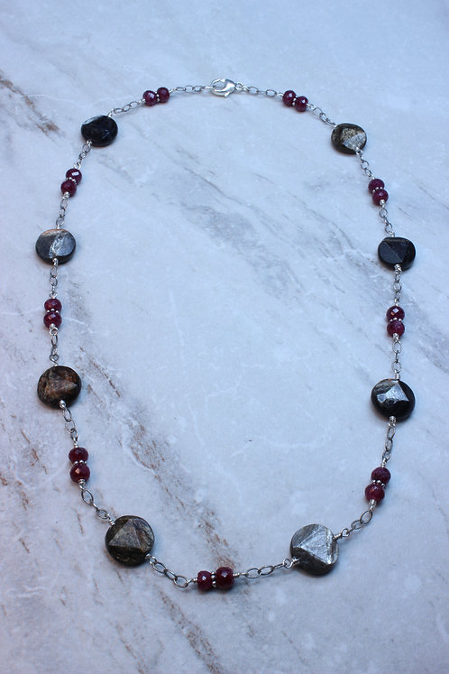 Ruby, Golden Obsidian & Sterling Silver Necklace