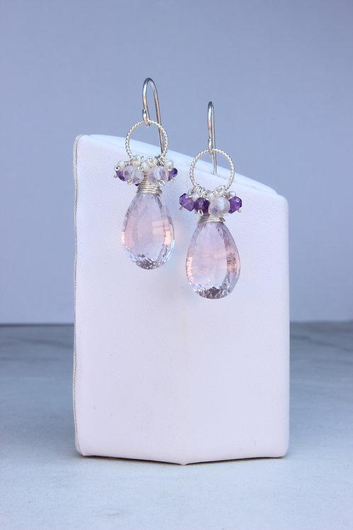 Pink Amethyst & Sterling Silver Earrings