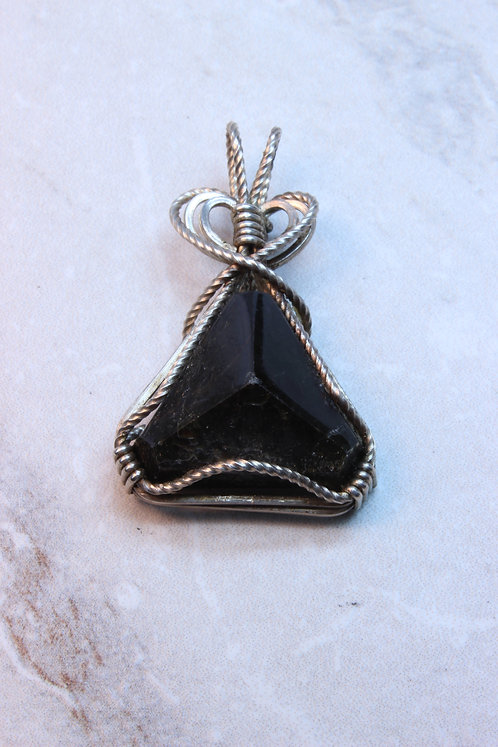 Meteorite & Sterling Silver Wire Wrapped Pendant