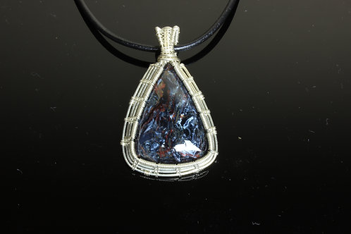 Pietersite & Sterling Silver Wire Wrapped Pendant