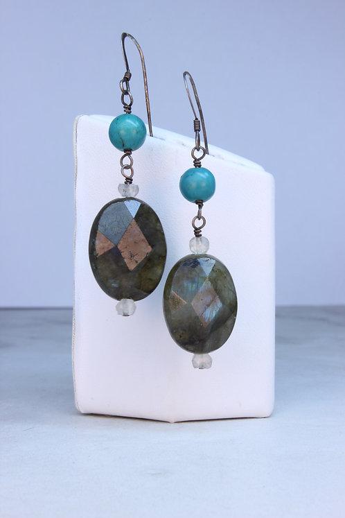 Labradorite, Turquoise & Prasiolite Silver Earrings