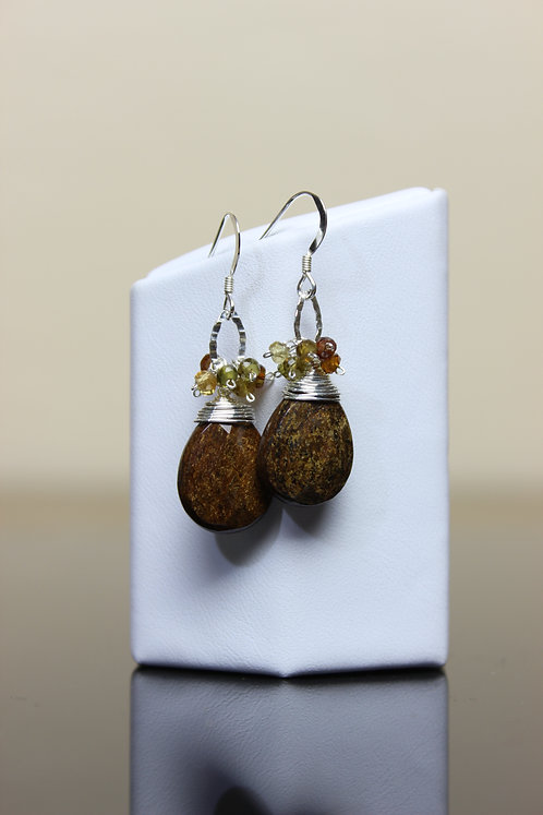 Bronzite, Autumn Tourmaline & Silver Earrings