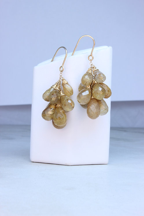 Rutilated Quartz & Gold Fill Cluster Earrings