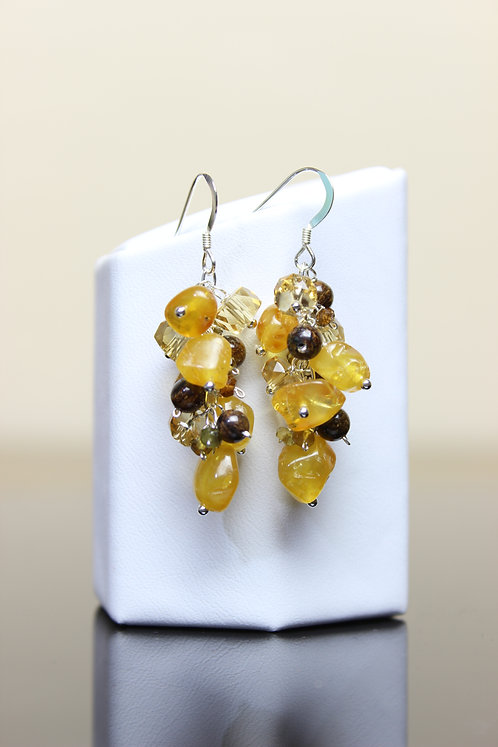 Honey Amber, Citrine, Bronzite & Hessonite Sterling Silver Earrings