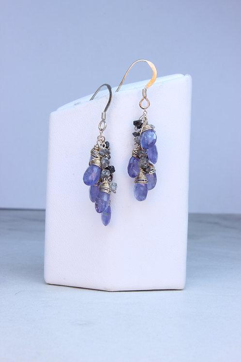 Tanzanite Rough Diamond & Sterling Silver Earrings