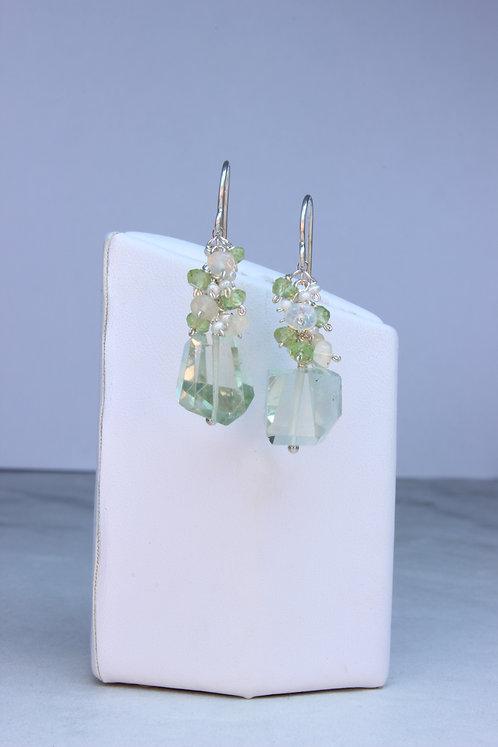 Prasiolite, Opal, Peridot, Pearl & Sterling Silver Earrings