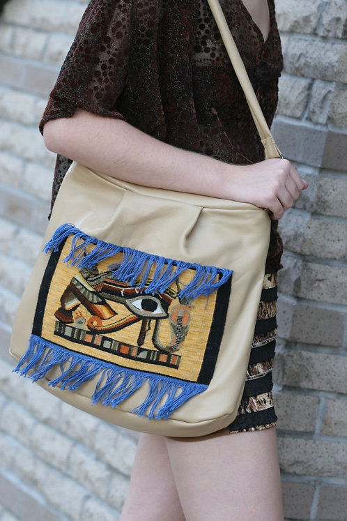 Egyptian Fantasy Leather Purse with Hand Woven Eye