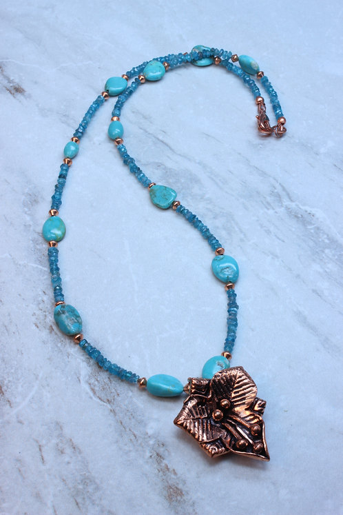 Turquoise, Apatite & Copper Flower Necklace