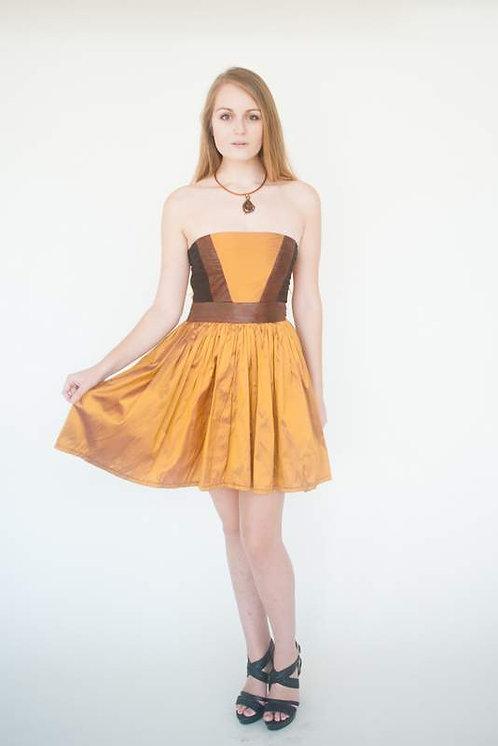 Golden Strapless Silk Date Night Dress