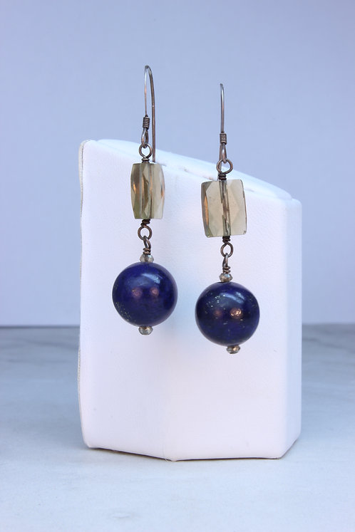Lapis Lazuli, Smokey Quartz and Silver Earrings