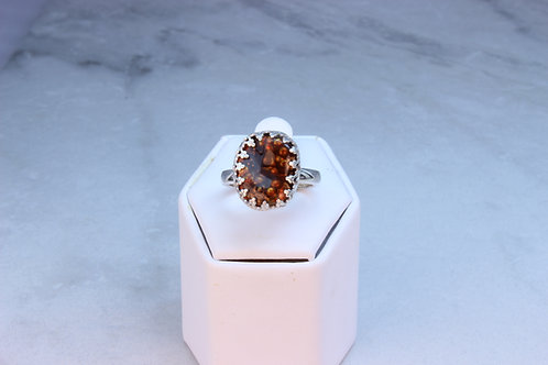 Fire Agate & Sterling Silver Ring