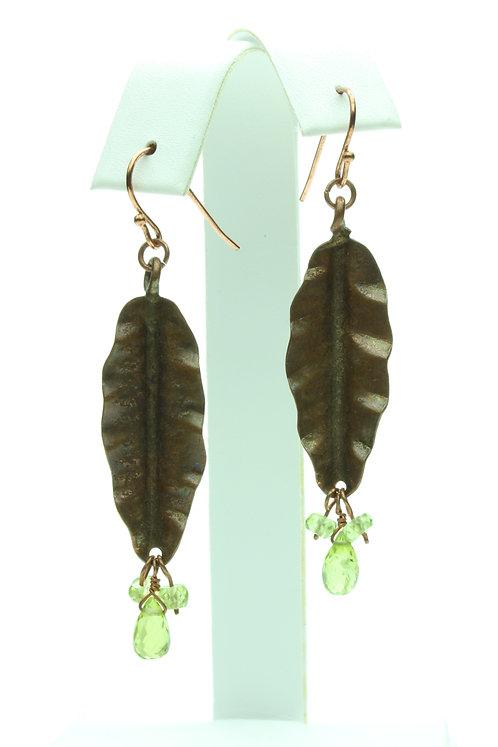 Peridot & Copper Leaf Earrings