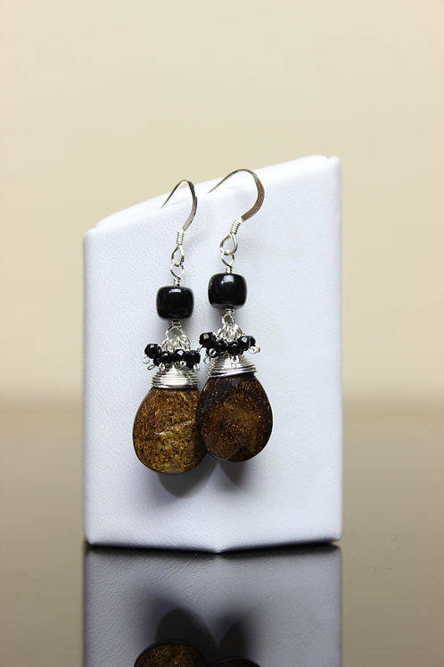 Bronzite, Onyx & Black Jade Sterling Silver Earrings
