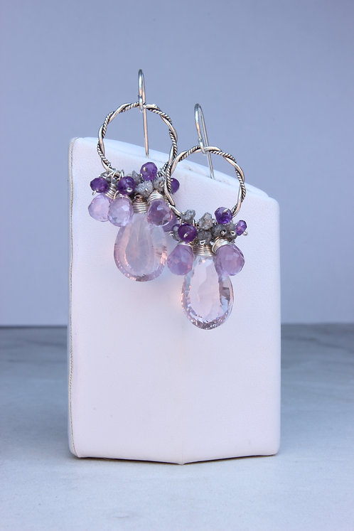 Pink Amethyst & Rough Diamond Sterling Silver Hoop Earrings