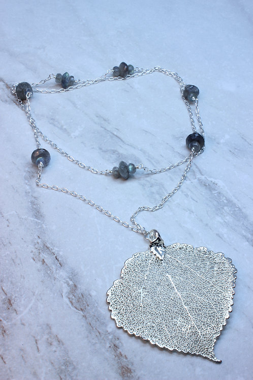 Electroplated Sterling Silver Leaf & Labradorite Necklace